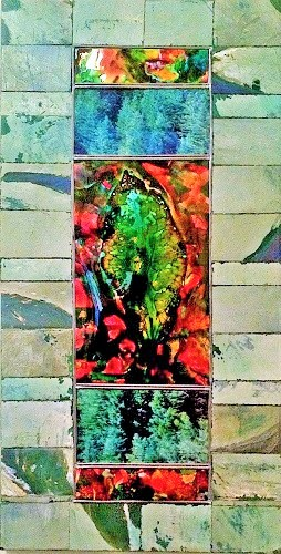 Framed Leaf / 12 x 22 inches collage glass paint, leaf  on mylar, lead trim on canvas