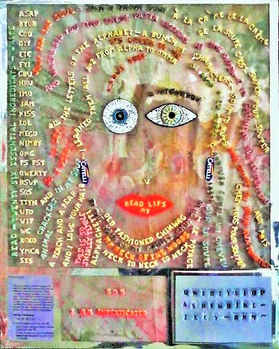 I'm Intexticated / 14 x 18 inches collage portrait alphabet pasta  on mylar mounted on 1-1/2 inch canvas