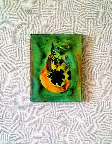 Pear Word / 14 x 18 collaged book pages and pear  on mylar mounted on 1-1/2 inch canvas