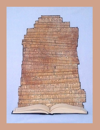 Tower of Babel / Framed 18 x 22 inches stiched book  pages with slice of book on waxed blue linen background