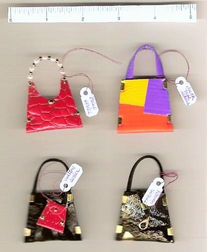 Miniature Purses Brooches / scale on picture in inches