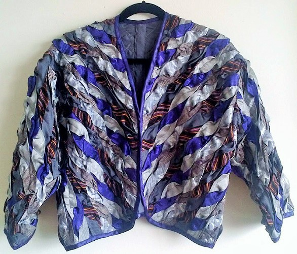 Bolero Jacket / Various fabric twisted and sewn, unlined, medium size